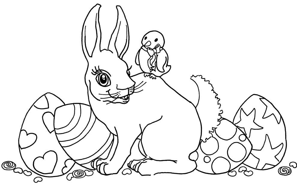 Disegno di coniglio e uccellino di pasqua da colorare Riccione Last Minute Offerta Giugno